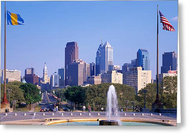 Art Museum Greeting Cards - Fountain At Art Museum With City Greeting Card by Panoramic Images
