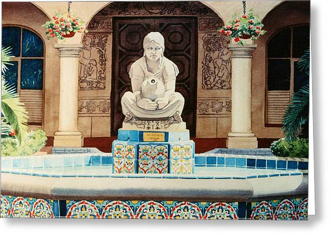 Fountain at Cafe Del Rey Moro Greeting Card by Mary Helmreich