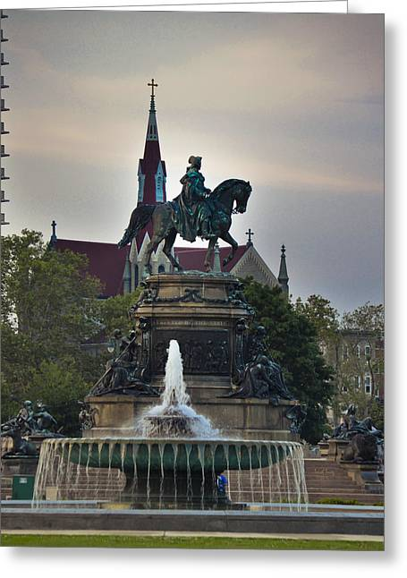 Eakins Oval Greeting Cards - Fountain At Eakins Oval Greeting Card by Trish Tritz