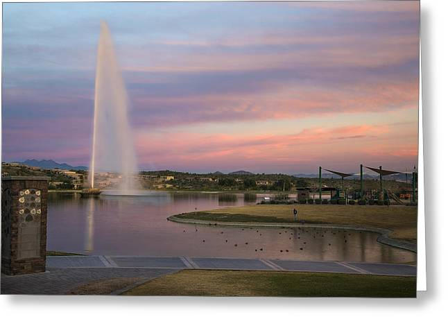 Rushing Water Greeting Cards - Fountain at Fountain Hills Arizona Greeting Card by Dave Dilli