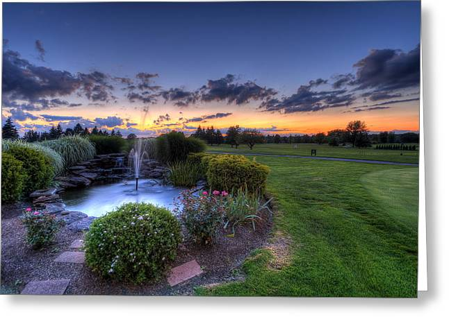 Golfcourses Greeting Cards - Fountain at Hole One Greeting Card by David Dufresne