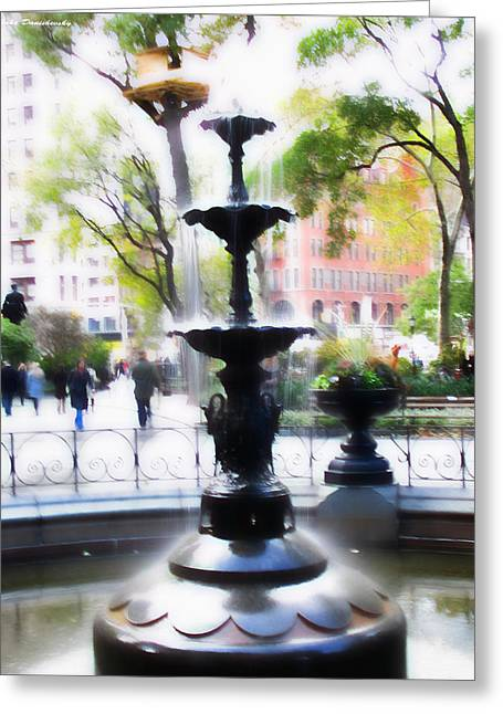 Newyorkcity Greeting Cards - Fountain at Madison Squire Park - Artwork Greeting Card by Jake Danishevsky