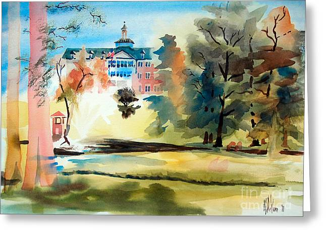 Picturesque Mixed Media Greeting Cards - Fountain at the Baptist Home II Greeting Card by Kip DeVore