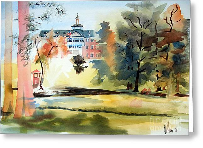 Fanciful Paintings Greeting Cards - Fountain at the Baptist Home Greeting Card by Kip DeVore