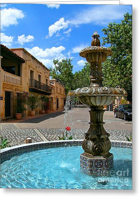 Cobblestone Greeting Cards - Fountain at Tlaquepaque Arts and Crafts Village Sedona Arizona Greeting Card by Amy Cicconi