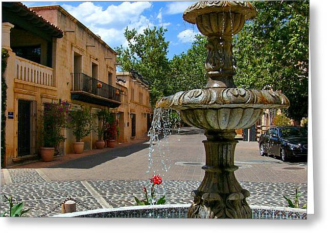 Fountain at Tlaquepaque Arts and Crafts Village Sedona Arizona Greeting Card by Amy Cicconi