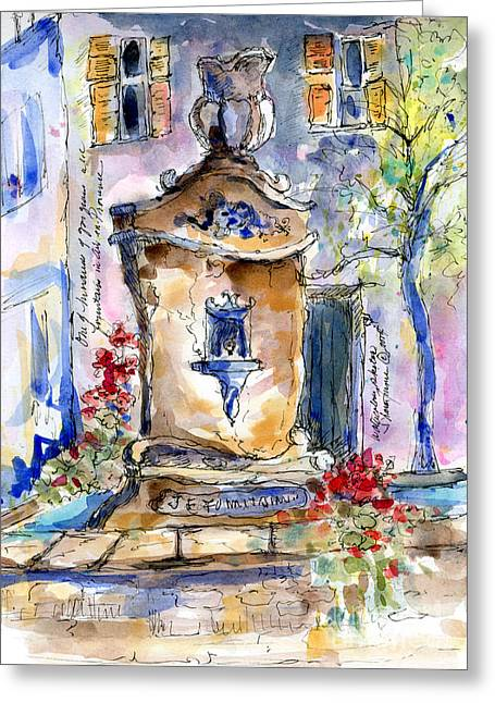 Sketchbook Greeting Cards - Fountain Bleu Greeting Card by Sharon Furner