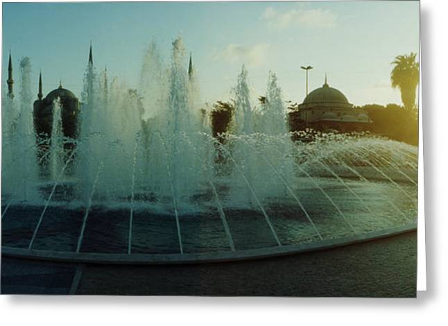 Istanbul Greeting Cards - Fountain By The Blue Mosque Greeting Card by Panoramic Images
