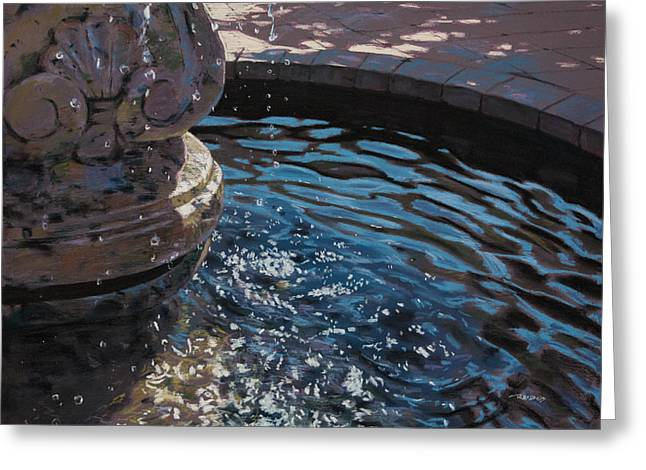 Violet Blue Pastels Greeting Cards - Fountain Greeting Card by Christopher Reid