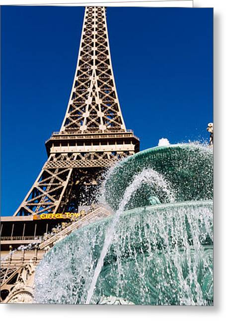 Mimic Greeting Cards - Fountain Eiffel Tower Las Vegas Nv Greeting Card by Panoramic Images