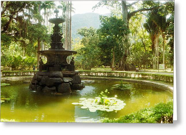 Subtropical Greeting Cards - Fountain In A Botanical Garden, Jardim Greeting Card by Panoramic Images