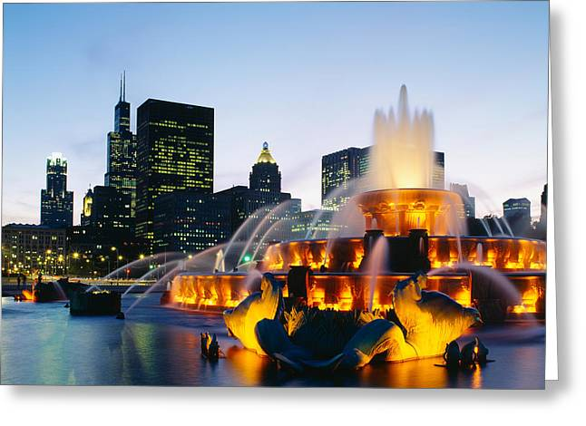 Fountain In A City Lit Up At Night Greeting Card by Panoramic Images