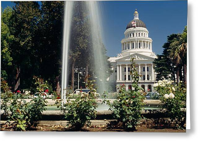 Capitol Flowers Greeting Cards - Fountain In A Garden In Front Greeting Card by Panoramic Images