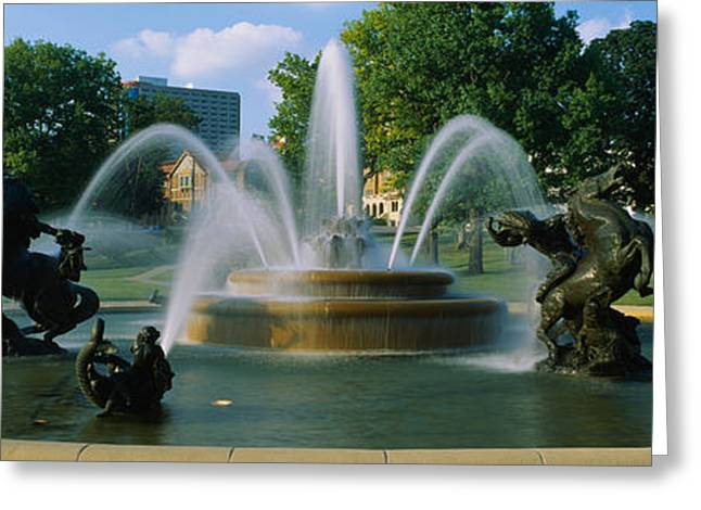 Jackson County Greeting Cards - Fountain In A Garden, J C Nichols Greeting Card by Panoramic Images