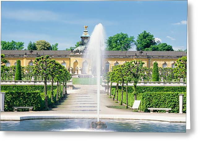 Garden Scene Greeting Cards - Fountain In A Garden, Potsdam, Germany Greeting Card by Panoramic Images