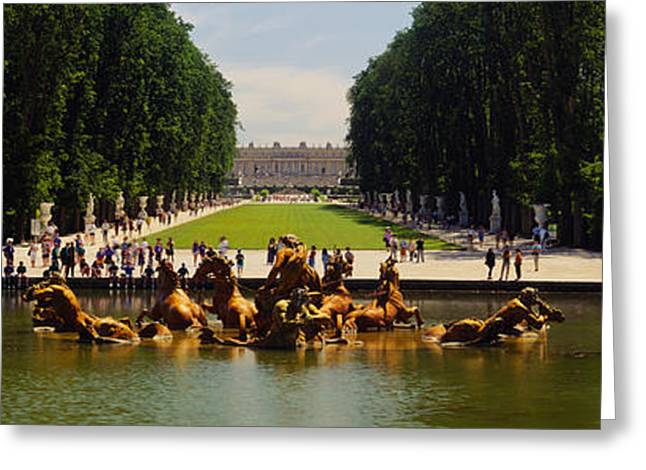 Tree Lines Greeting Cards - Fountain In A Garden, Versailles, France Greeting Card by Panoramic Images