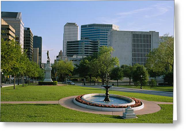 Austin Building Greeting Cards - Fountain In A Park, Austin, Texas, Usa Greeting Card by Panoramic Images