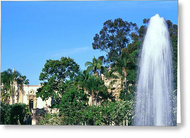 Fountain In A Park, Balboa Park, San Greeting Card by Panoramic Images