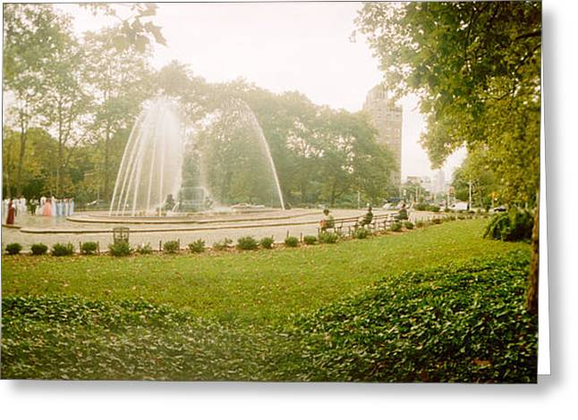 Prospects Greeting Cards - Fountain In A Park, Prospect Park Greeting Card by Panoramic Images