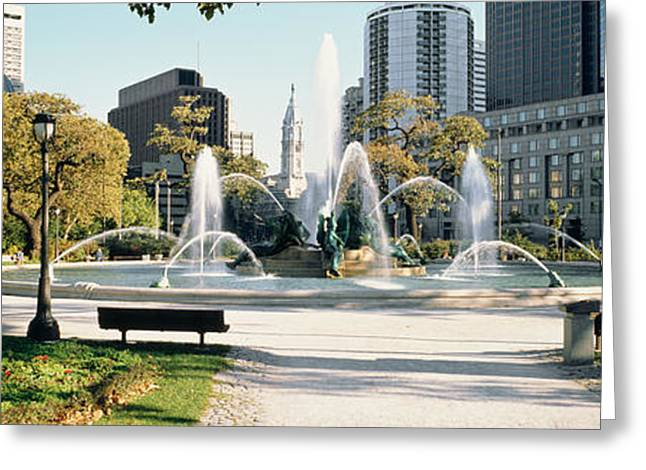 Swann Greeting Cards - Fountain In A Park, Swann Memorial Greeting Card by Panoramic Images