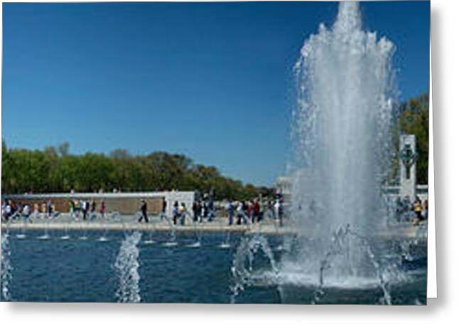 National Mall Greeting Cards - Fountain In A War Memorial, National Greeting Card by Panoramic Images
