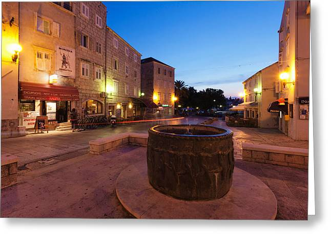 Old Photography Greeting Cards - Fountain In An Old Town, Korcula Greeting Card by Panoramic Images