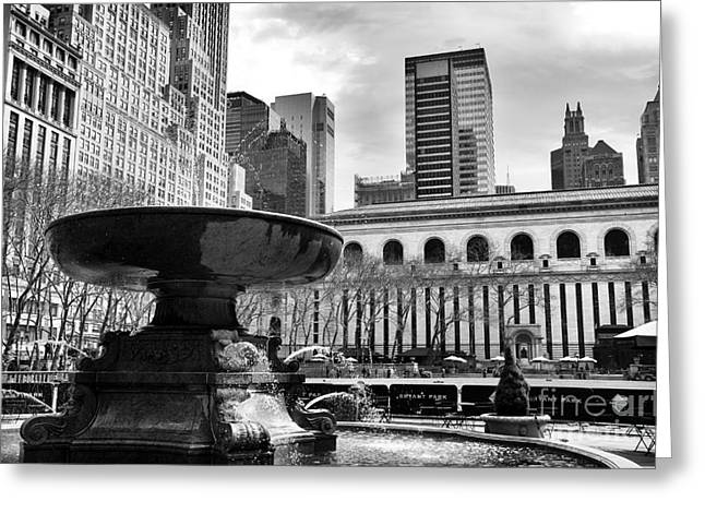 Bryant Photographs Greeting Cards - Fountain in Bryant Park mono Greeting Card by John Rizzuto