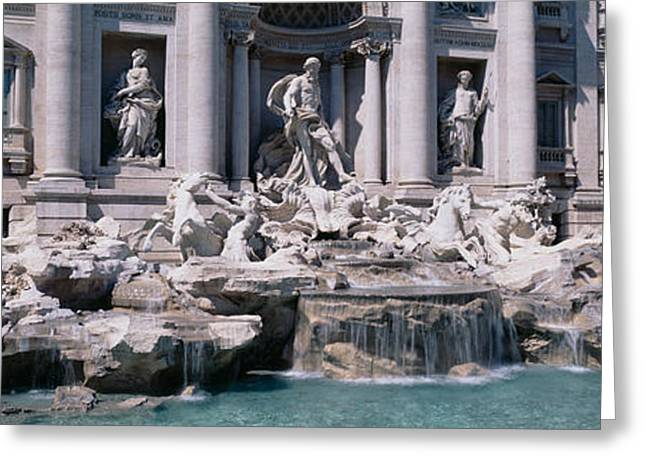 Flowing Fountain Greeting Cards - Fountain In Front Of A Building, Trevi Greeting Card by Panoramic Images