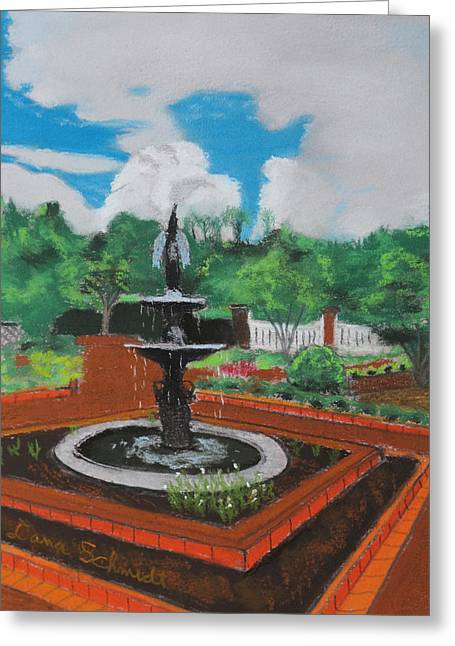Water Garden Pastels Greeting Cards - Fountain in GA Official Botanical Garden at Athens Greeting Card by Dana Schmidt
