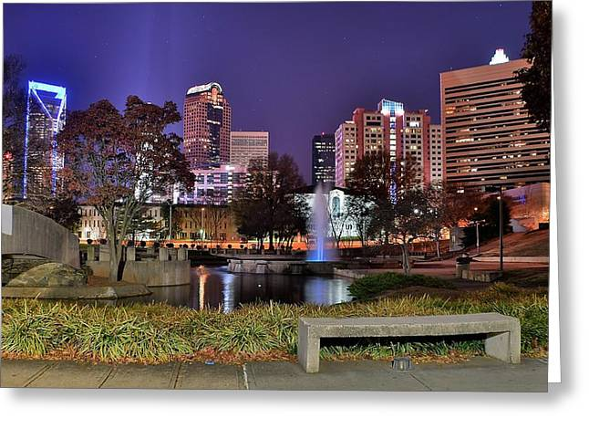 Charlotte Bobcats Greeting Cards - Fountain in Marshall Park Greeting Card by Frozen in Time Fine Art Photography