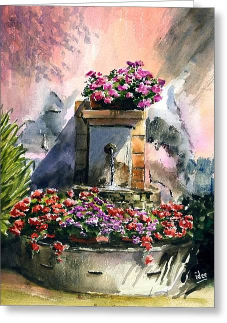 Aquarel Greeting Cards - Fountain in Moustier-St-Marie Greeting Card by Ivo Depauw