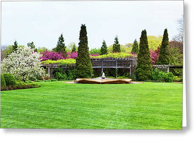 Fountain In Peace Garden, Chicago Greeting Card by Panoramic Images