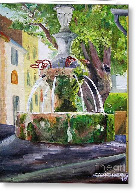 Provence Village Greeting Cards - Fountain in provence Greeting Card by Christian Simonian