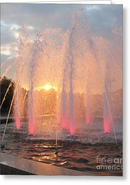 Evgeny Pisarev Greeting Cards - Fountain in sundown Greeting Card by Evgeny Pisarev