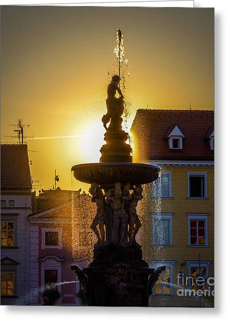 Budejovice Greeting Cards - Fountain In Sunset Greeting Card by Filip Masopust