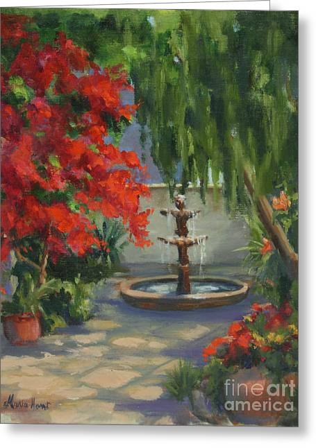 Santa Fe Fountain Greeting Cards - Fountain in the Courtyard Greeting Card by Maria Hunt