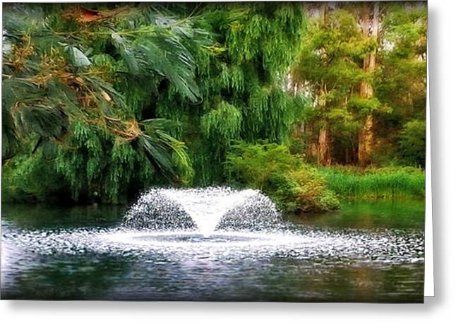 Green And Yellow Greeting Cards - Fountain in the Park Greeting Card by Kaye Menner