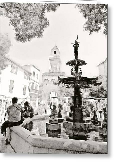 Inkwash Greeting Cards - Fountain in the Square Greeting Card by Tina Concetta Marzocca