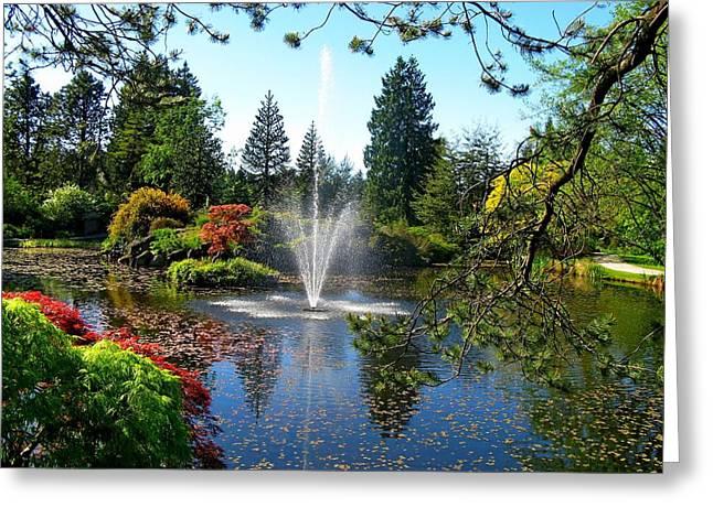Pond In Park Greeting Cards - Fountain in VanDusen Garden Greeting Card by Lena Kouneva