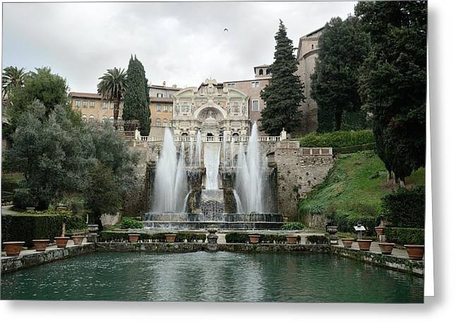 Villa Deste Greeting Cards - Fountain in Villa dEste Greeting Card by Sihyeon Park