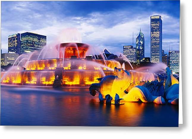 Illuminate Greeting Cards - Fountain Lit Up At Dusk, Buckingham Greeting Card by Panoramic Images