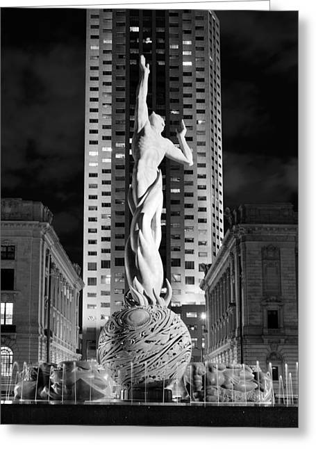 Eternal Life Greeting Cards - Fountain of Eternal Life Black and White Greeting Card by Clint Buhler