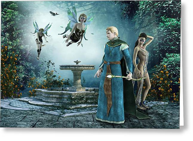 Mystic Art Greeting Cards - Fountain Of Forgiveness II Greeting Card by Nikola Durdevic