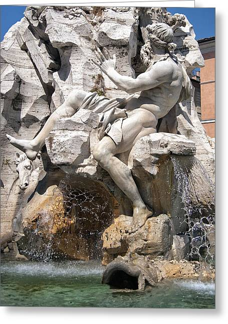 Old Masters Greeting Cards - Fountain of Four Rivers Greeting Card by Melany Sarafis