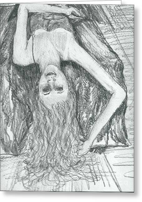 Clothed Figure Greeting Cards - Fountain of Hair Greeting Card by Joseph Wetzel