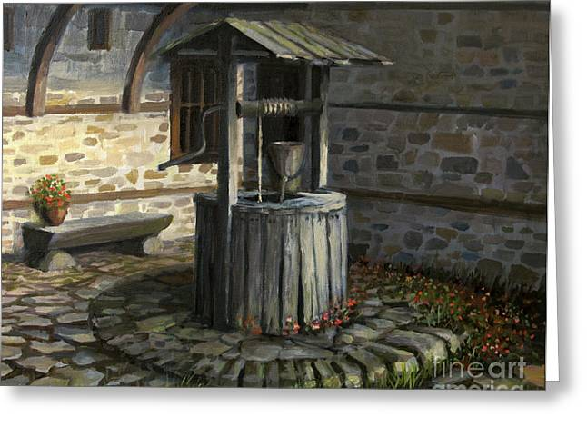 Wooden Building Paintings Greeting Cards - Fountain of Life Greeting Card by Kiril Stanchev