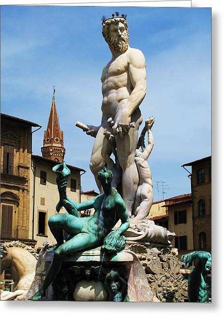 Italy Greeting Cards - Fountain of Neptune Greeting Card by Cimorene Photography