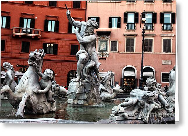 Red Buildings Greeting Cards - Fountain of Neptune Greeting Card by John Rizzuto