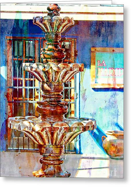 Las Cruces Digital Art Greeting Cards - Fountain of New Mexico Greeting Card by Barbara Chichester