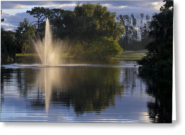 Fountain On Golf Course Greeting Card by M Cohen